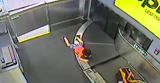 Toddler goes on a ride of conveyor belts in this viral video