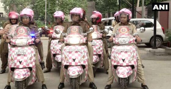 Delhi Police women patrol with pink scooties & helmets