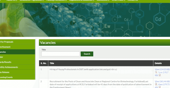 Dept Of Biotechnology Looking For Young professionals   Job Recruitmen