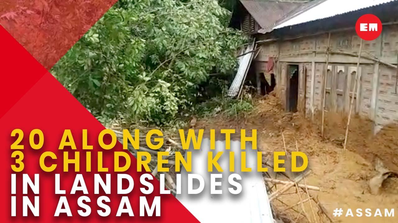 At least 20, including children killed in landslides in Assam