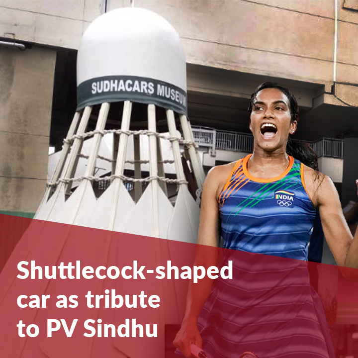 Hyderabad car museum unveils shuttlecock-shaped car as tribute to PV Sindhu