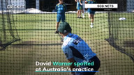 David Warner hits the nets at Australia's practice session