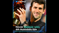 Djokovic wins 4th Mubadala title, equals Nadal's record