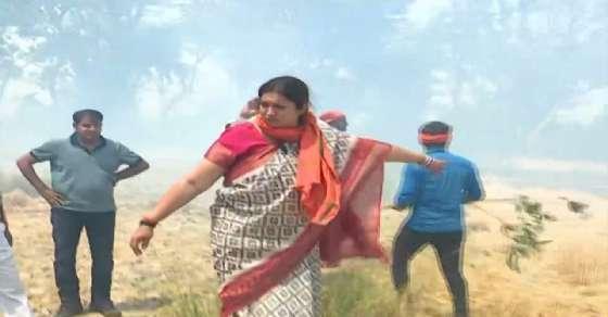 Watch: Smriti Irani turns fire-fighter in UP village